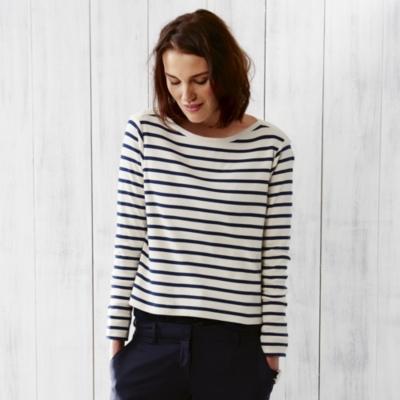 LS Breton Stipe Rib T- shirt - Navy/White