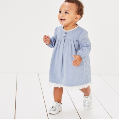 Broderie & Chambray Dress - The White Company