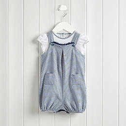 Breton Stripe Dungaree & Bodysuit Set