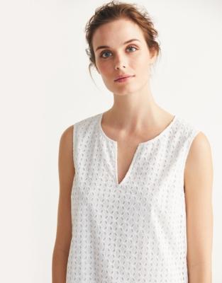 Broderie Shift Dress - White