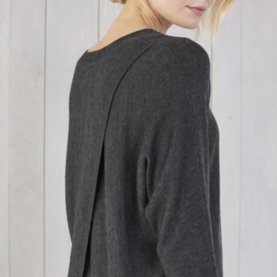Back Split Batwing Sleeve Sweater - Dark Charcoal Marl