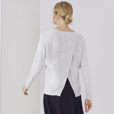 Back Split Batwing Sleeve Sweater - Pale Gray Marl