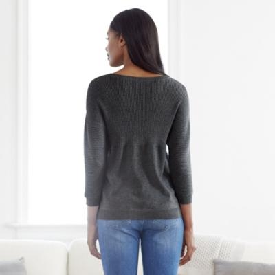 Batwing Rib Slash Neck Sweater