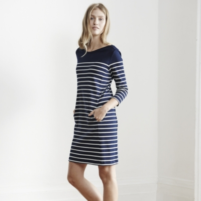 Breton Stripe Shift Dress - Navy/White