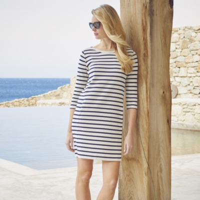 Breton Stripe Shift Dress - White Navy
