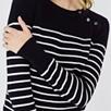 Button Shoulder Stripe Sweater
