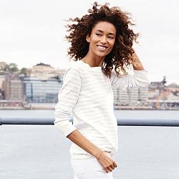 Button Shoulder Striped Sweater - Porcelain