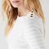 Button Shoulder Striped Sweater - Porcelain