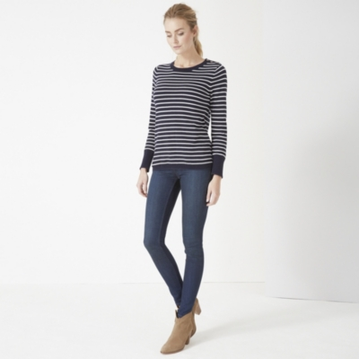 Button Shoulder Striped Sweater - Navy