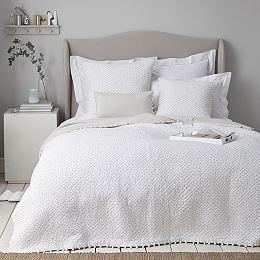 Brittany Quilt - White Gray