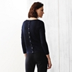 Button Back Sparkle Sweater - Navy