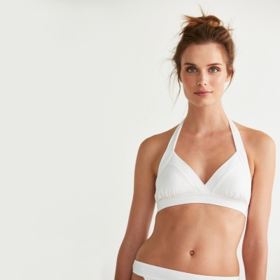 Banded Textured Bikini Top - White