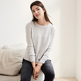 Button Back Sweater - Cloud Marl