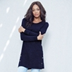 Button Detail Knitted Tunic - French Navy Marl