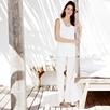 Broderie Trim Pajama Set - White