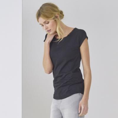 Bobble Trim T-Shirt - Black