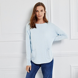 Button Back Pocket Sweater - Pale Blue Marl