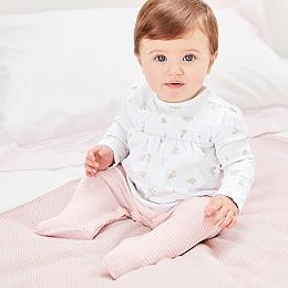 Bunny Print & Stripe Sleepsuit