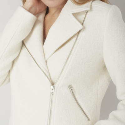 Cotton Boiled Wool Biker Jacket - Ivory