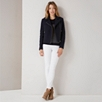 Cotton Boiled Wool Biker Jacket - Navy