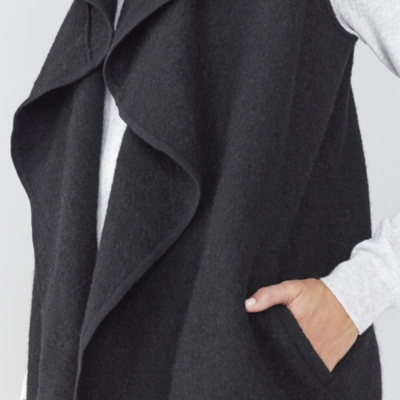 Boiled Wool Sleeveless Cardigan
