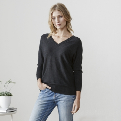 Batwing V Neck Jumper - Dark Charcoal Marl