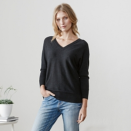 Batwing V-Neck Sweater - Dark Charcoal Marl