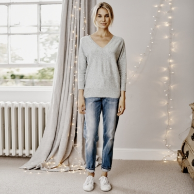 Batwing V Neck Jumper - Pale Grey Marl