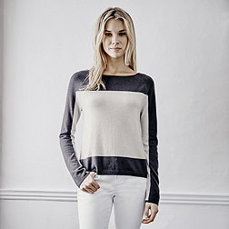 Cashmere Colourblock Jumper - Champagne
