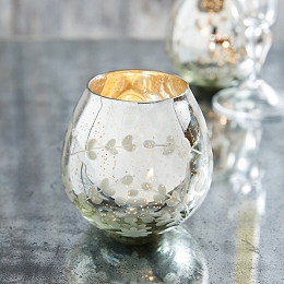 Etched Mercury Tealight Holder