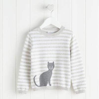Cat Motif Stripe Sweater