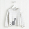 Cat Motif Stripe Sweater