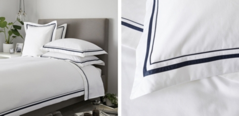 Cavendish Bed Linen Collection - White Navy