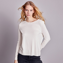 Button Back Jumper with Cashmere - Porcelain