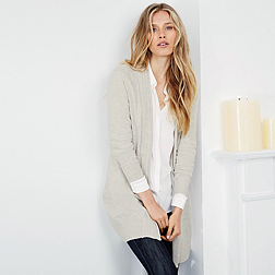 Cable Collar Cardigan - Biscuit Marl