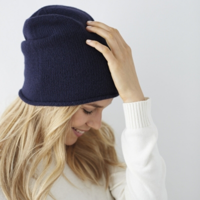 Cashmere Slouchy Beanie - Navy