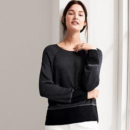 Colorblock Hem Sweater - Charcoal Marl