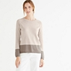 Colorblock Hem Sweater - Taupe Marl