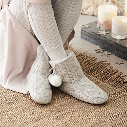 Cable Pom-Pom Slipper Boots