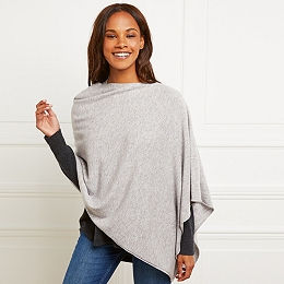 Wool Poncho with Cashmere - Pale Gray Marl