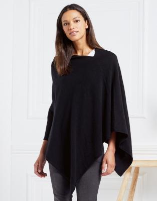 Wool-Cashmere Poncho - Black
