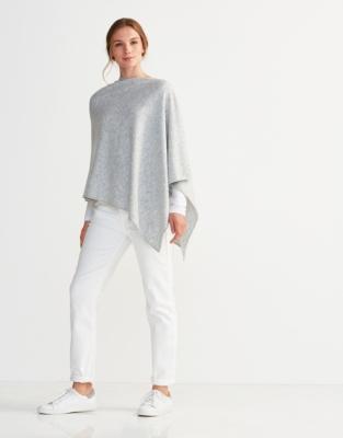 Wool-Cashmere Poncho - Pale Gray Marl