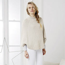 Cable Stitch Poncho - Biscuit