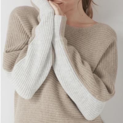 Color Block Horizontal Ribbed Sweater