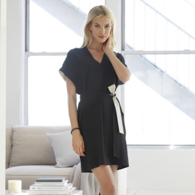 Color Block Silk Tunic Dress