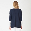 Color Block Slash Neck Sweater - Navy Marl
