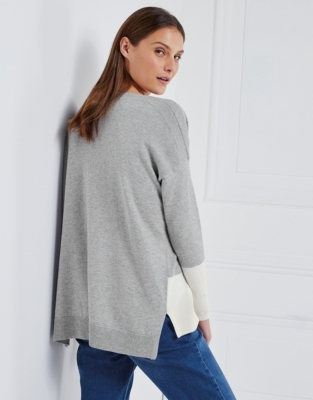 Colorblock Slash Neck Sweater - Pale Gray Marl
