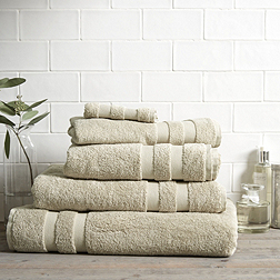 Classic Double Border Towels - Stone
