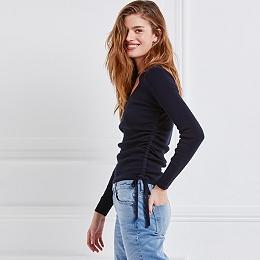 Cotton-Cashmere Gathered Sweater