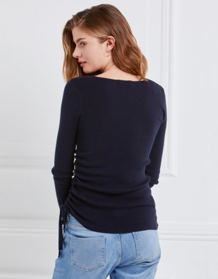 Cotton-Cashmere Gathered Jumper